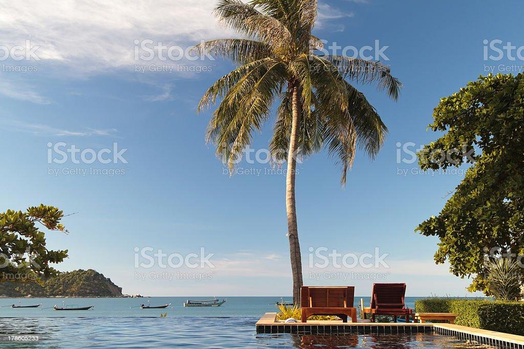 Swimming pool facing the sea royalty-free stock photo