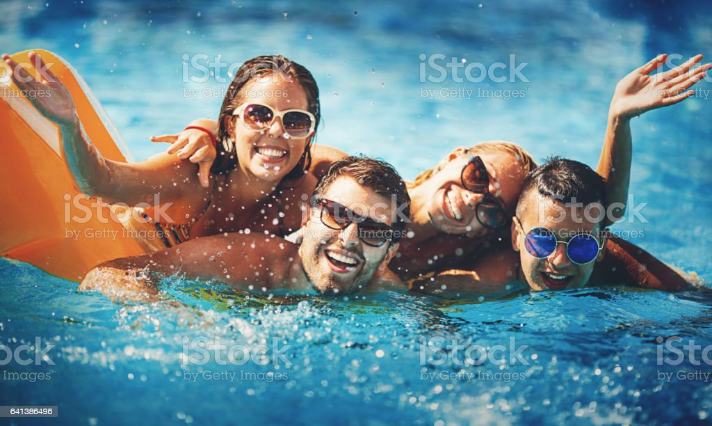 Swimming pool fun. stock photo