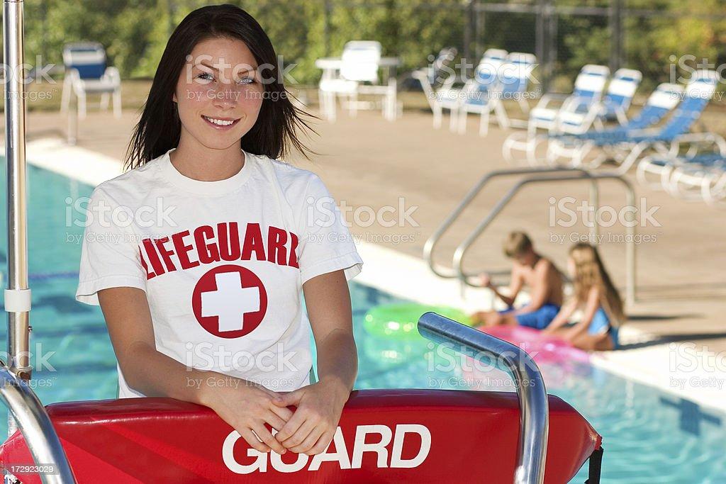 Swimming Pool Guard stock photo