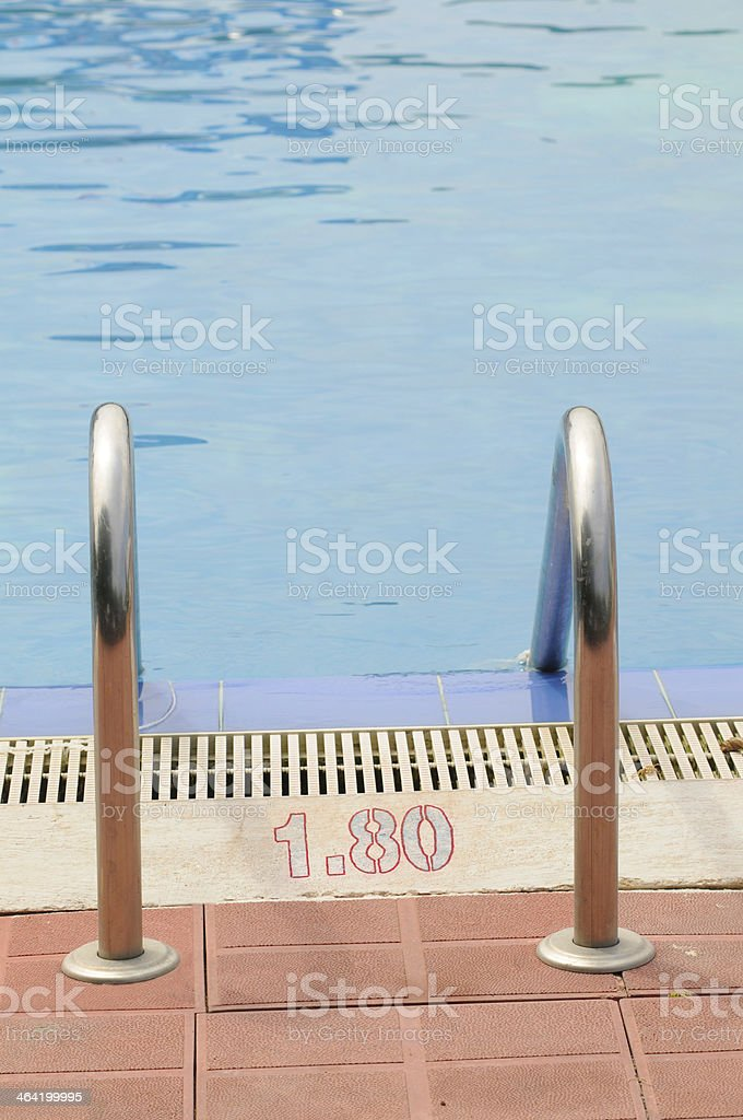 Swimming pool handrails royalty-free stock photo