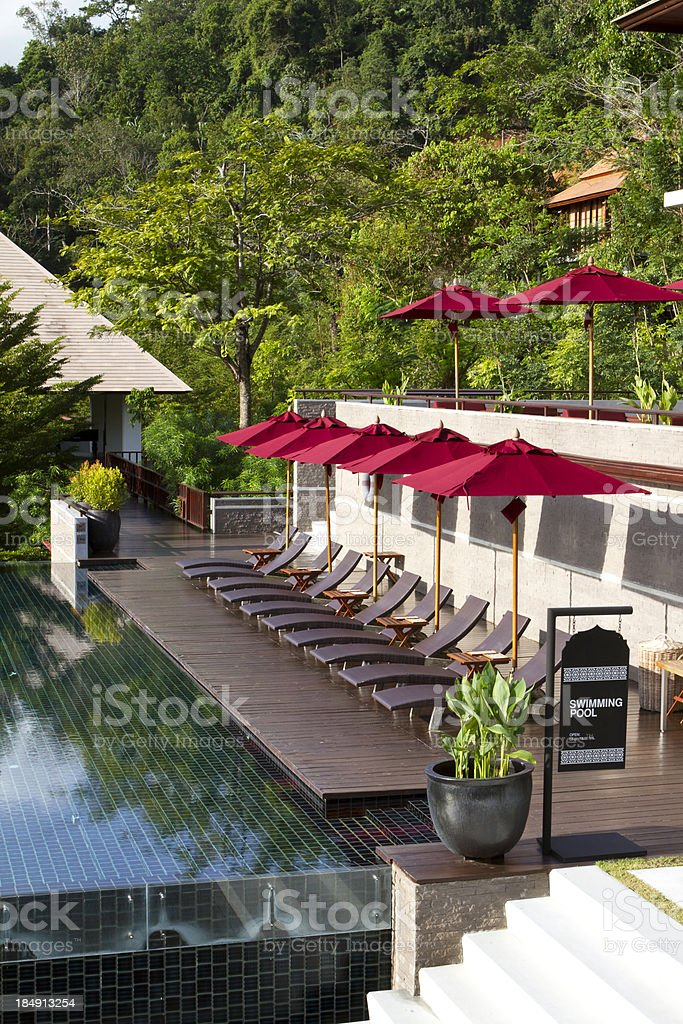 Swimming pool in a luxury resort royalty-free stock photo
