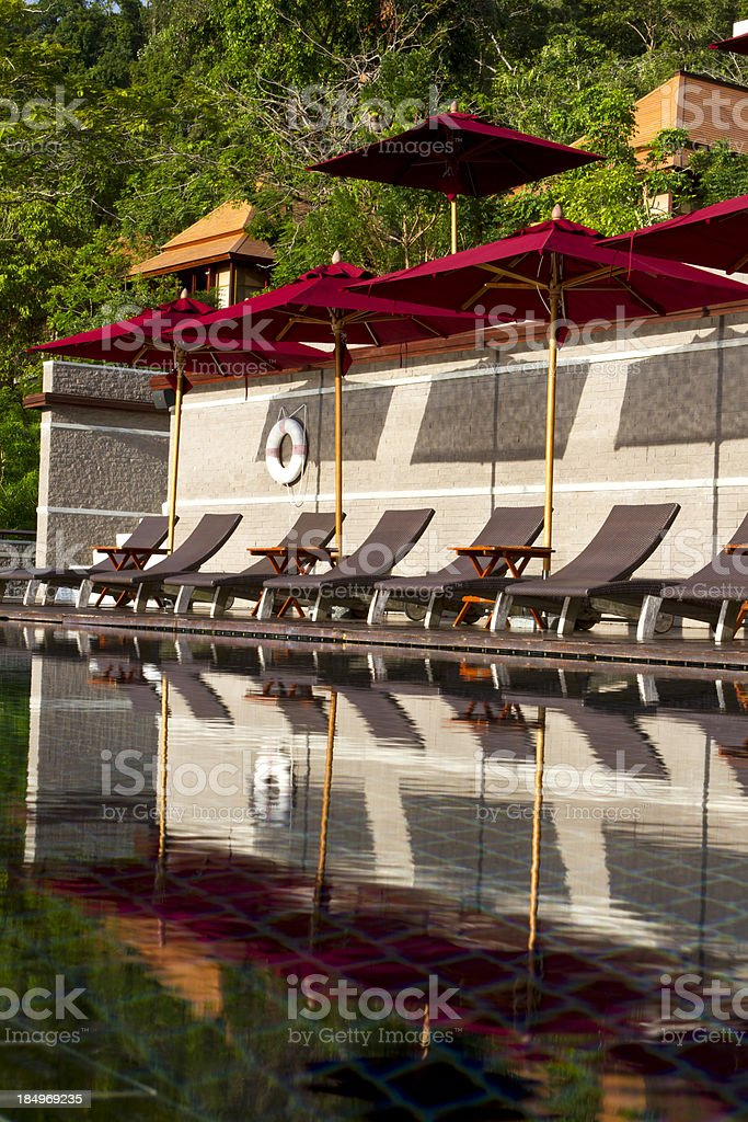 Swimming pool in a luxury resort stock photo