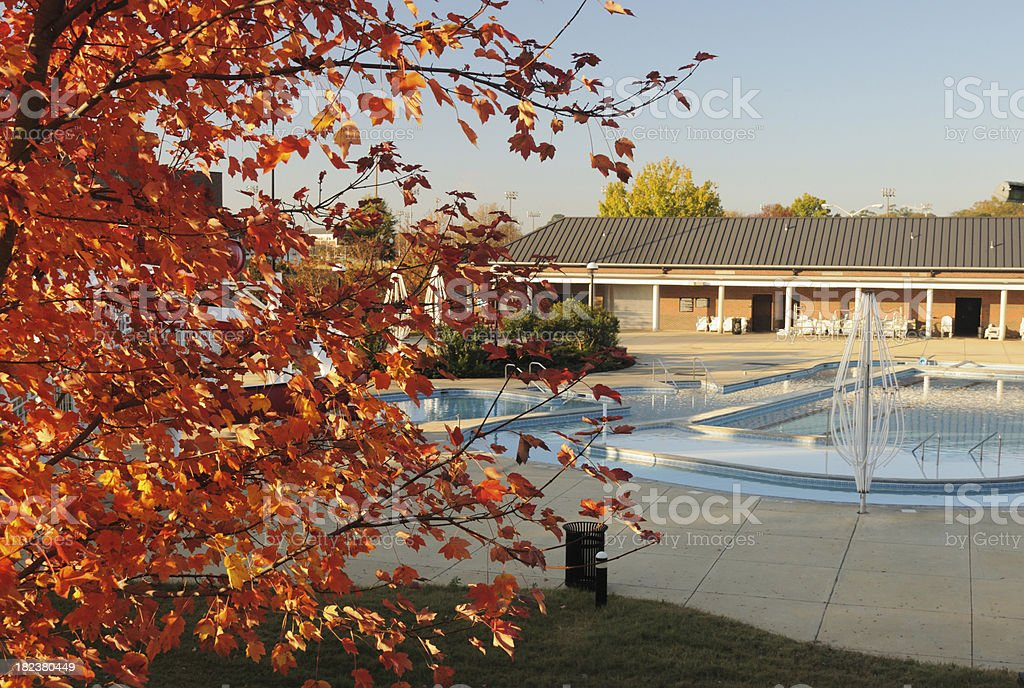 Swimming pool in autumn royalty-free stock photo