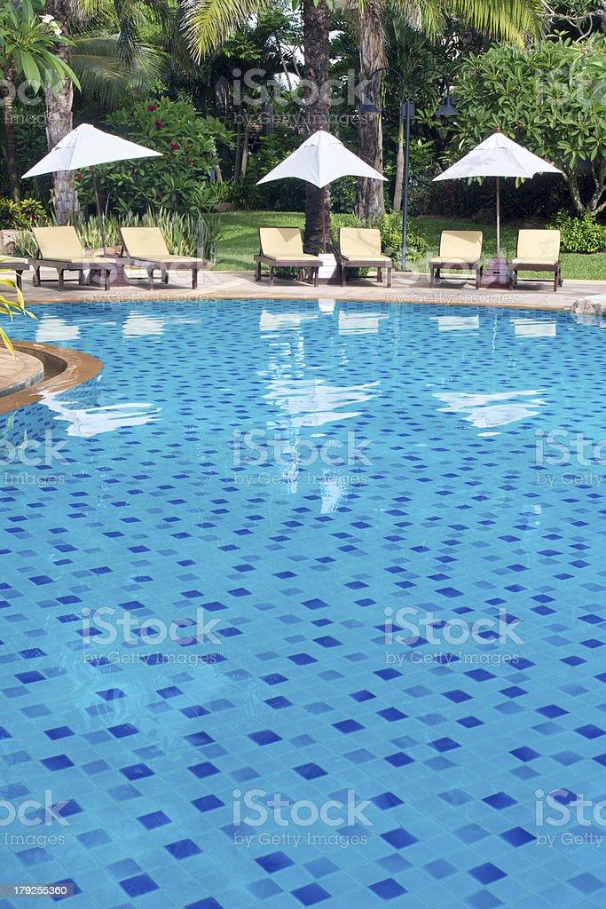 swimming pool in beach resorts royalty-free stock photo