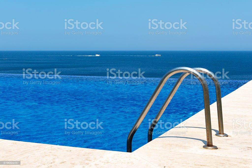 Swimming pool in bodrum stock photo