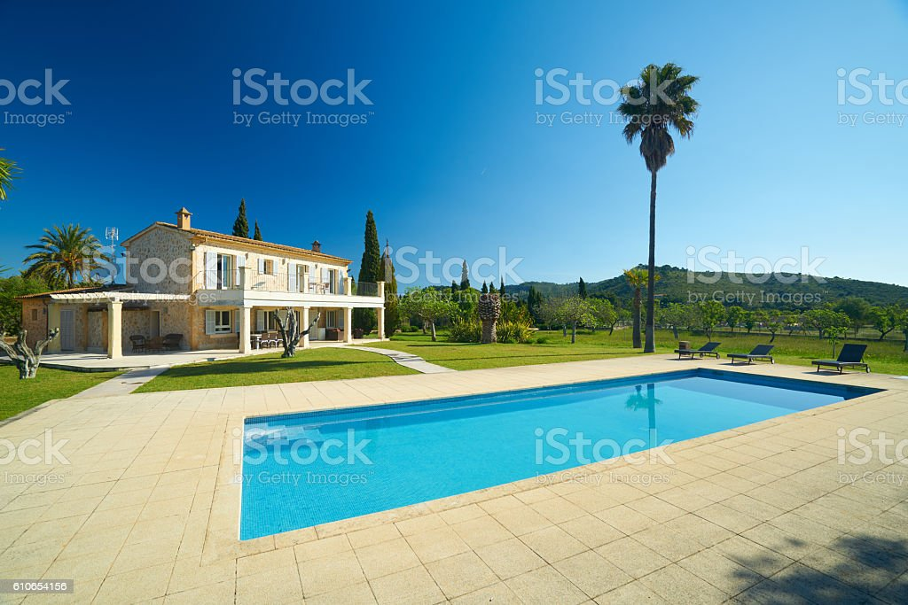 stone house finca with big swimming pool in well-kept garden on sunny...