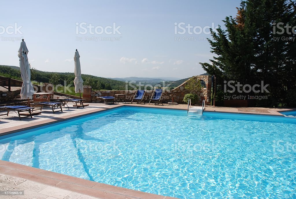 Swimming pool in holiday farm 01 stock photo