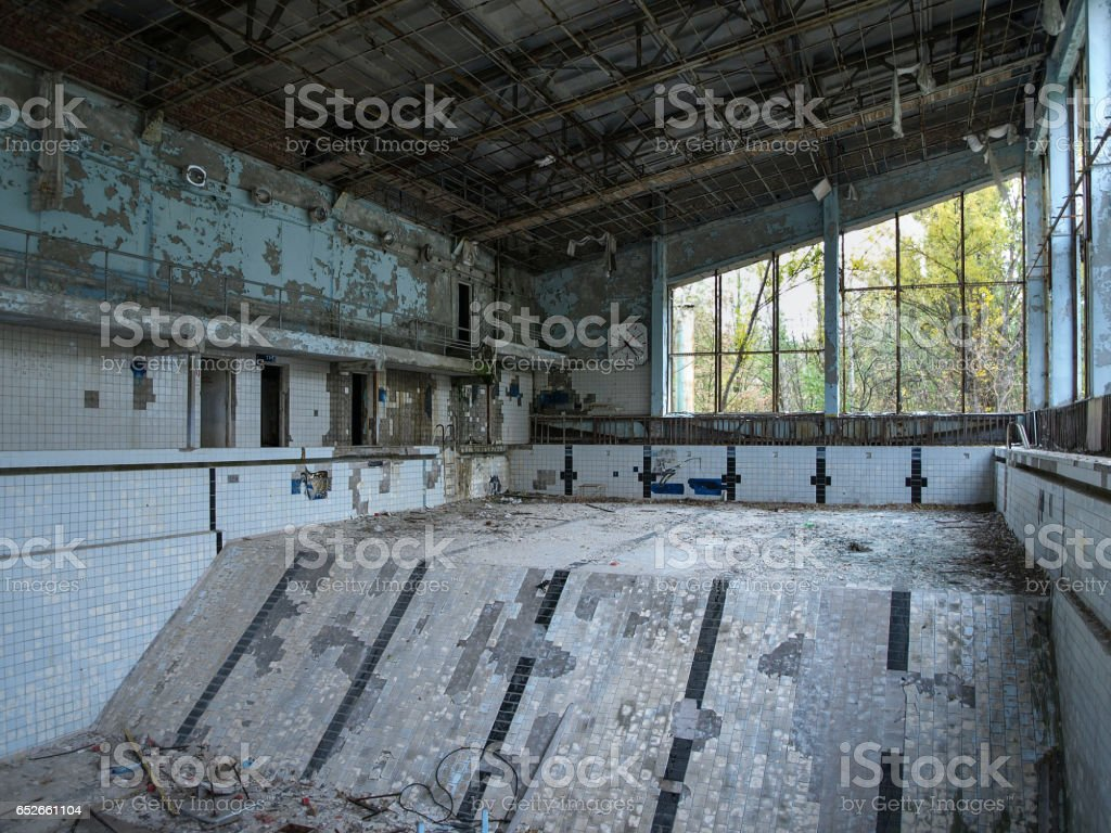 Swimming pool in Pripyat ghost town close to Chernobyl, 2016 stock photo