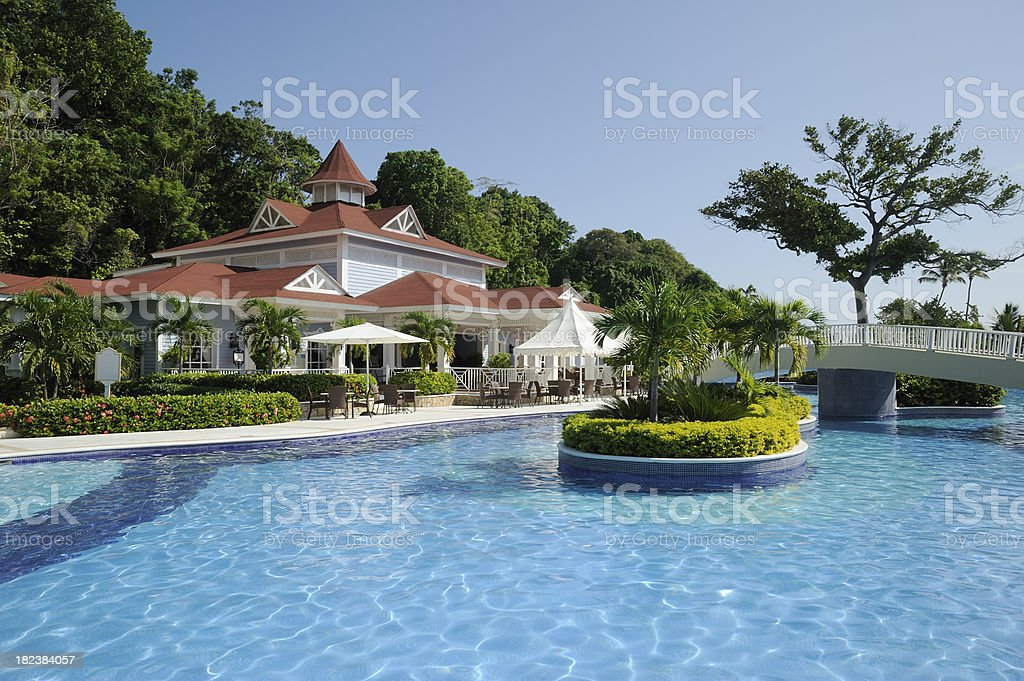 Swimming pool in resort royalty-free stock photo