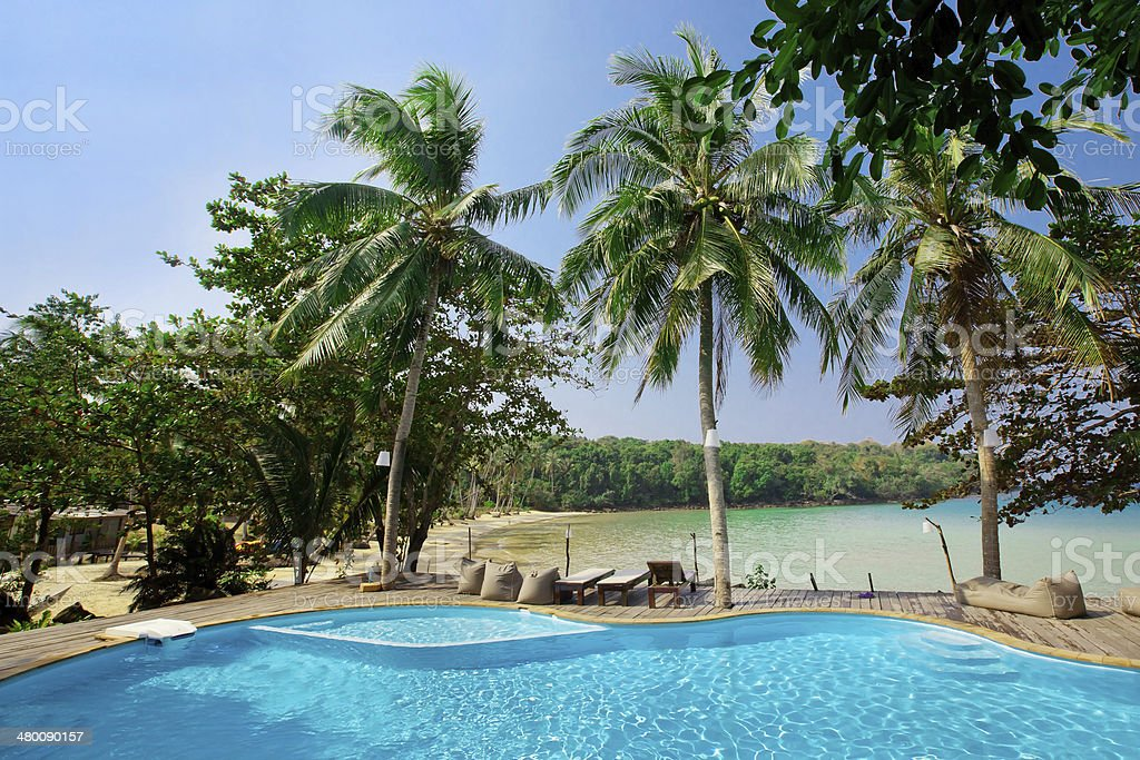 swimming pool in spa resort stock photo