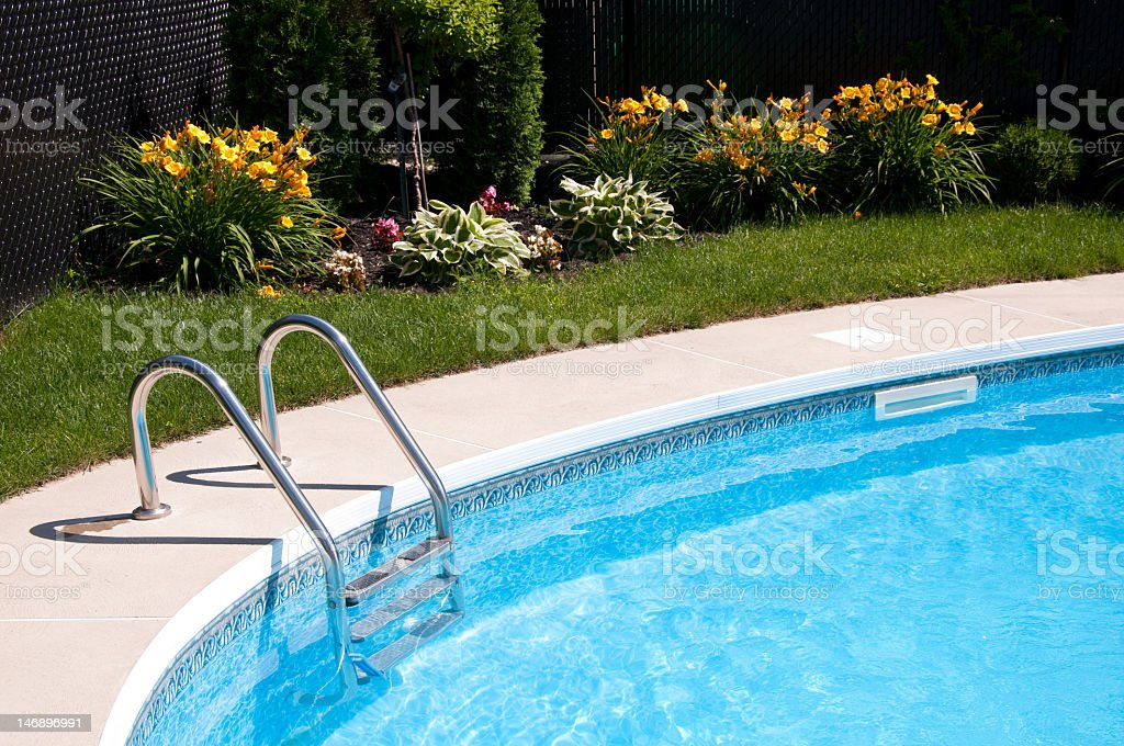 Curve side of a pool with stairs and flowers in the background