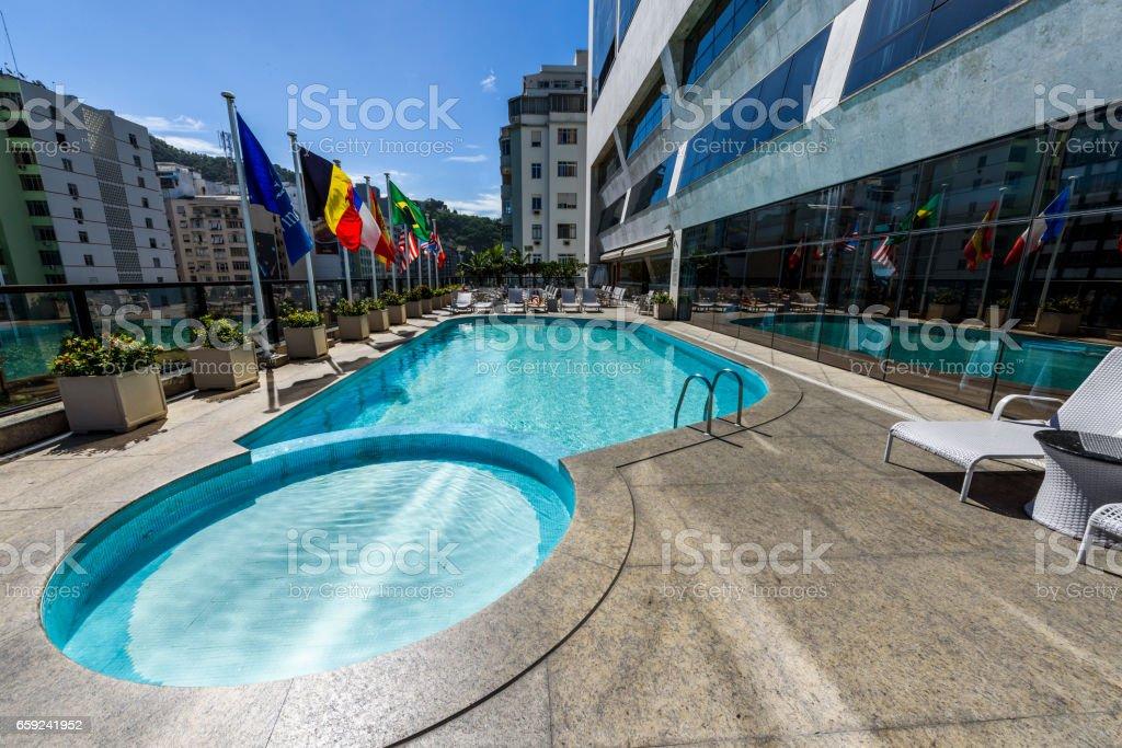 Swimming pool in Windsor Atlântica Hotel, Copacabana, Rio de Janeiro, Brazil stock photo