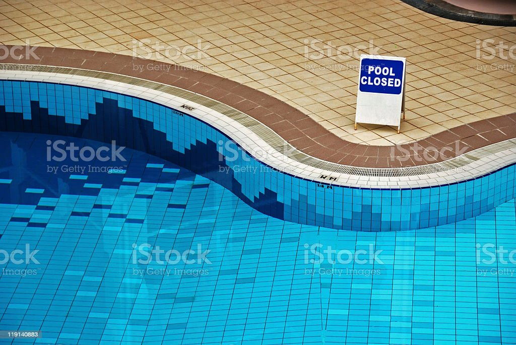 swimming pool is closed stock photo