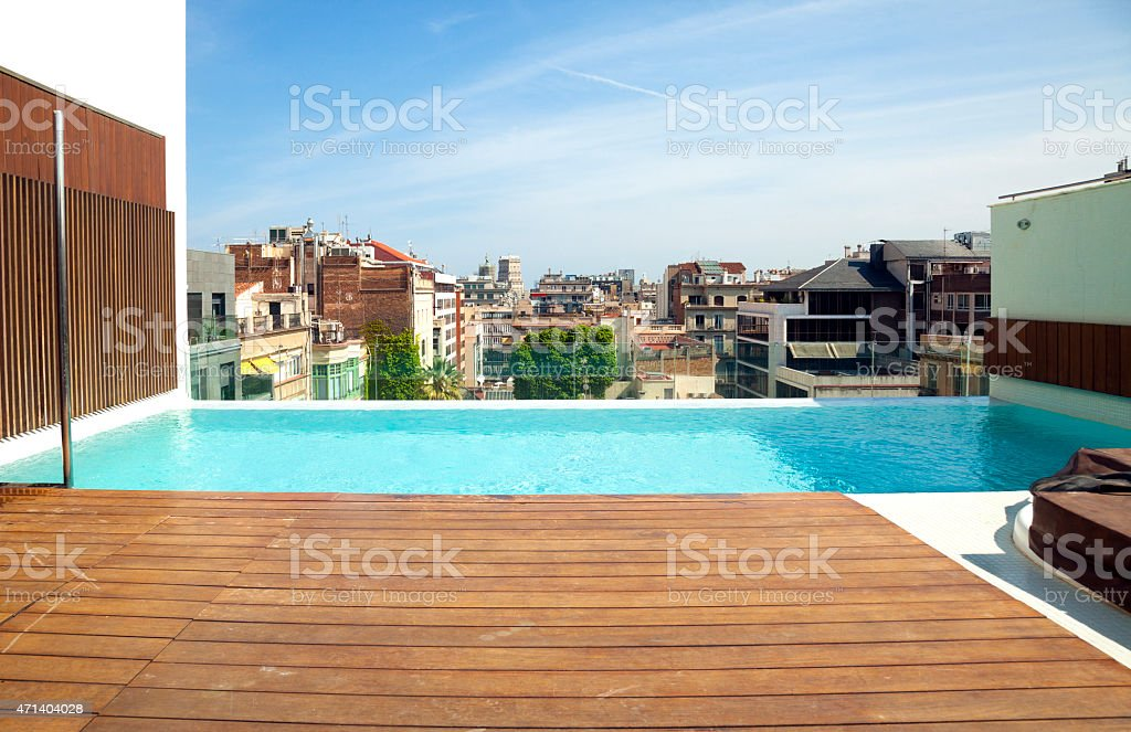 Swimming pool looking barcelona stock photo