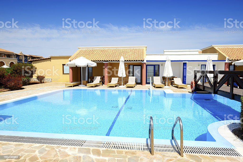 Swimming pool near luxury villa, Peloponnes, Greece royalty-free stock photo