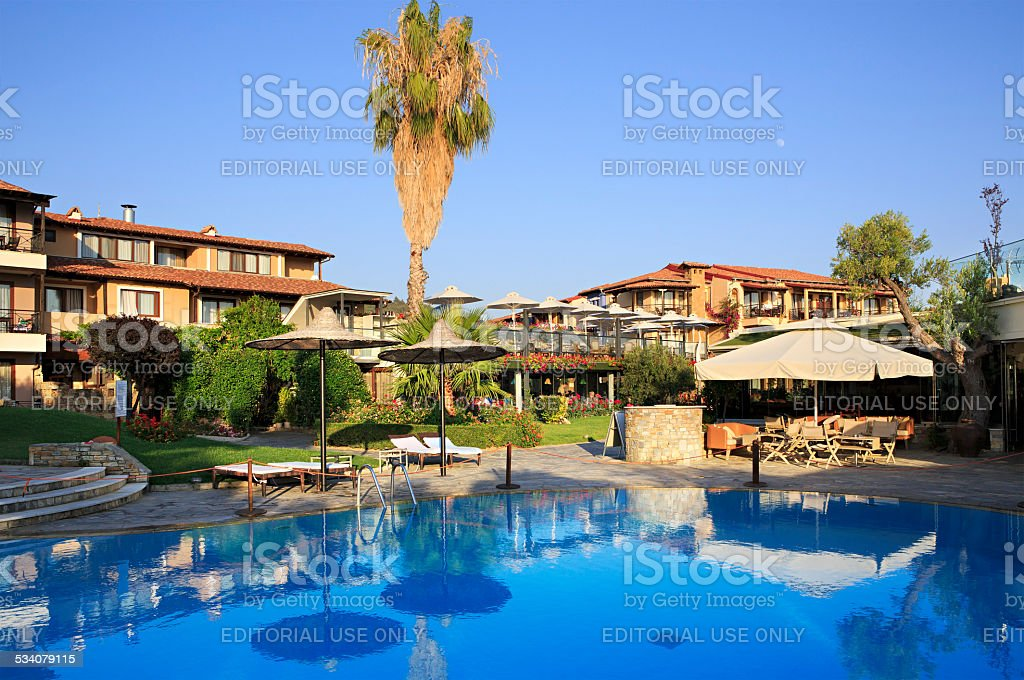 Swimming pool on site of Anthemus Sea Beach Hotel stock photo