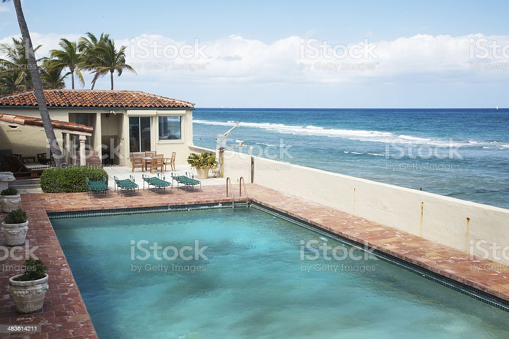 Swimming pool on the seaside in Palm Beach stock photo