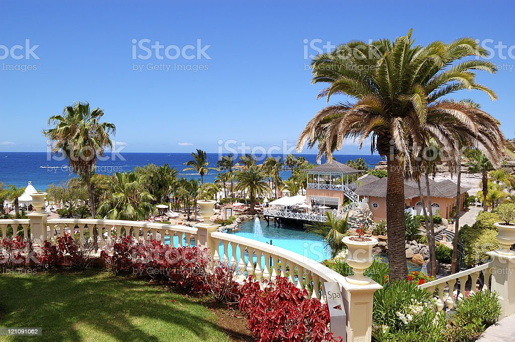 Swimming pool, open-air restaurant and beach of luxury hotel stock photo