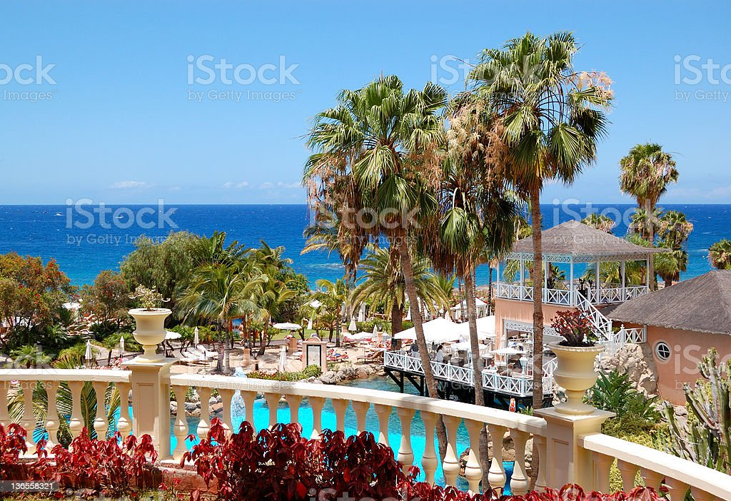 Swimming pool, open-air restaurant and beach stock photo
