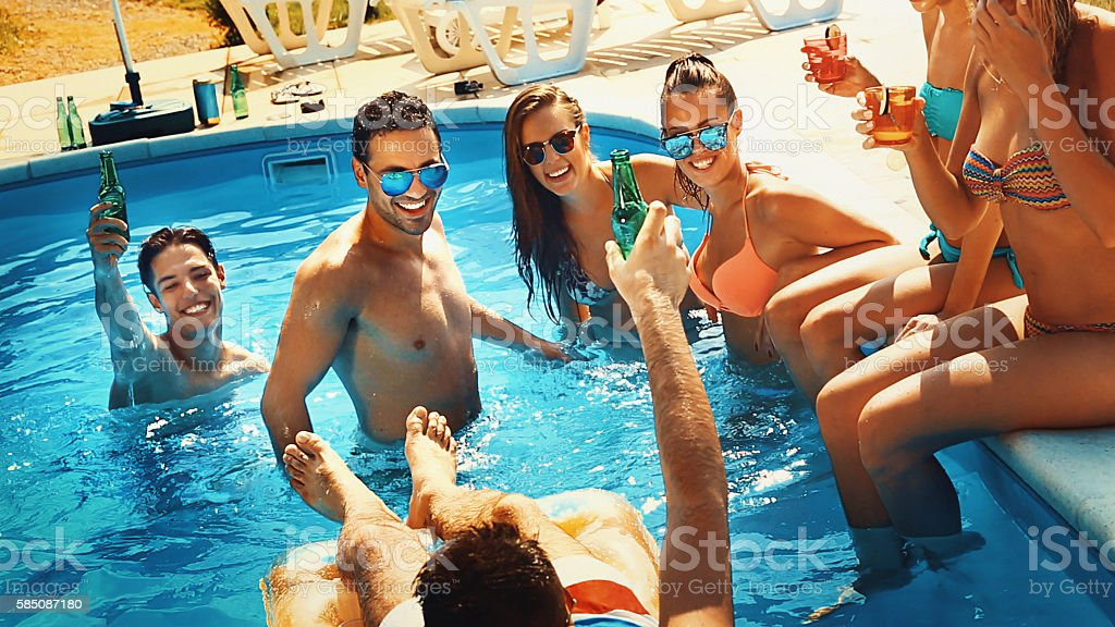 Swimming pool party. stock photo