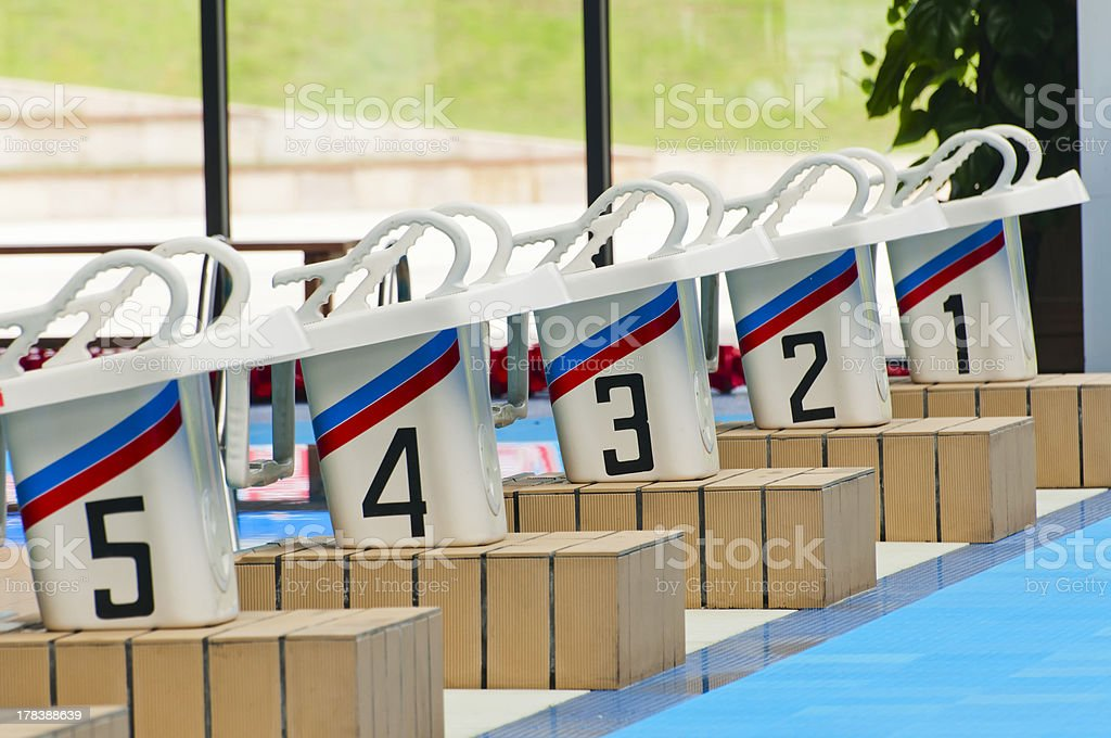 Swimming pool platform stock photo