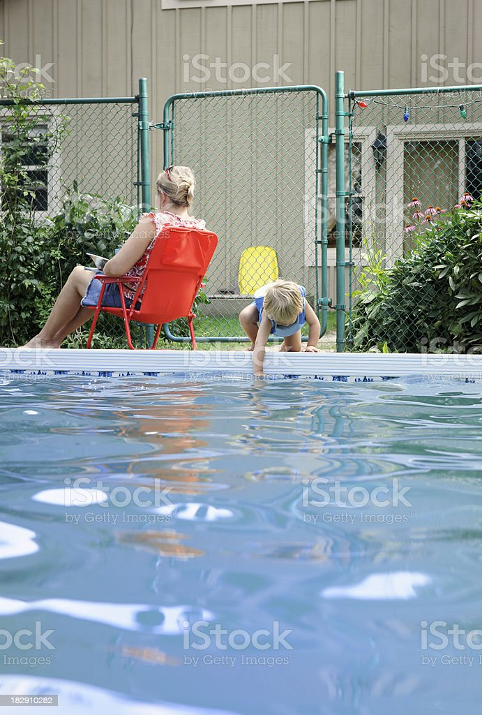Swimming pool safety stock photo