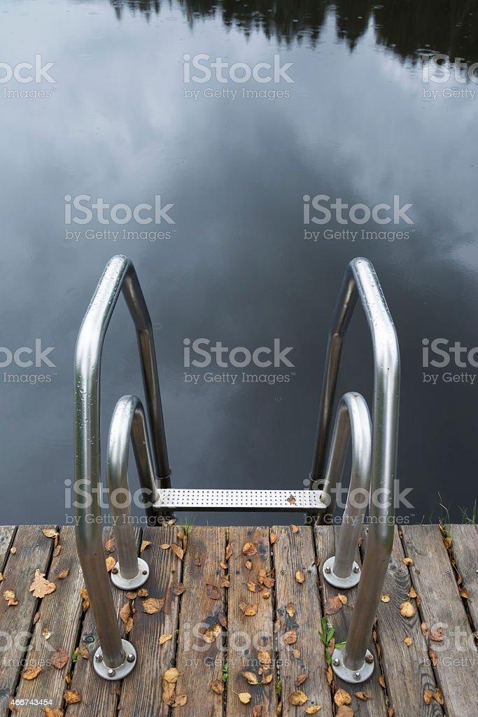Swimming pool staircase stock photo