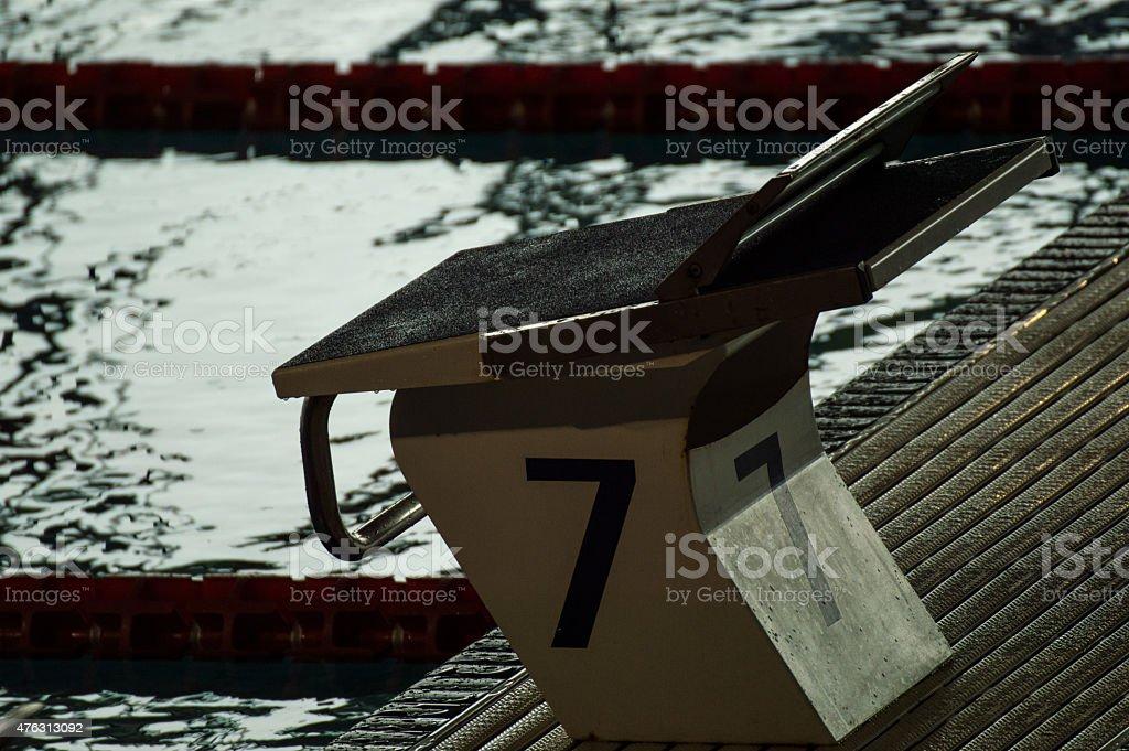 swimming pool, starting block stock photo