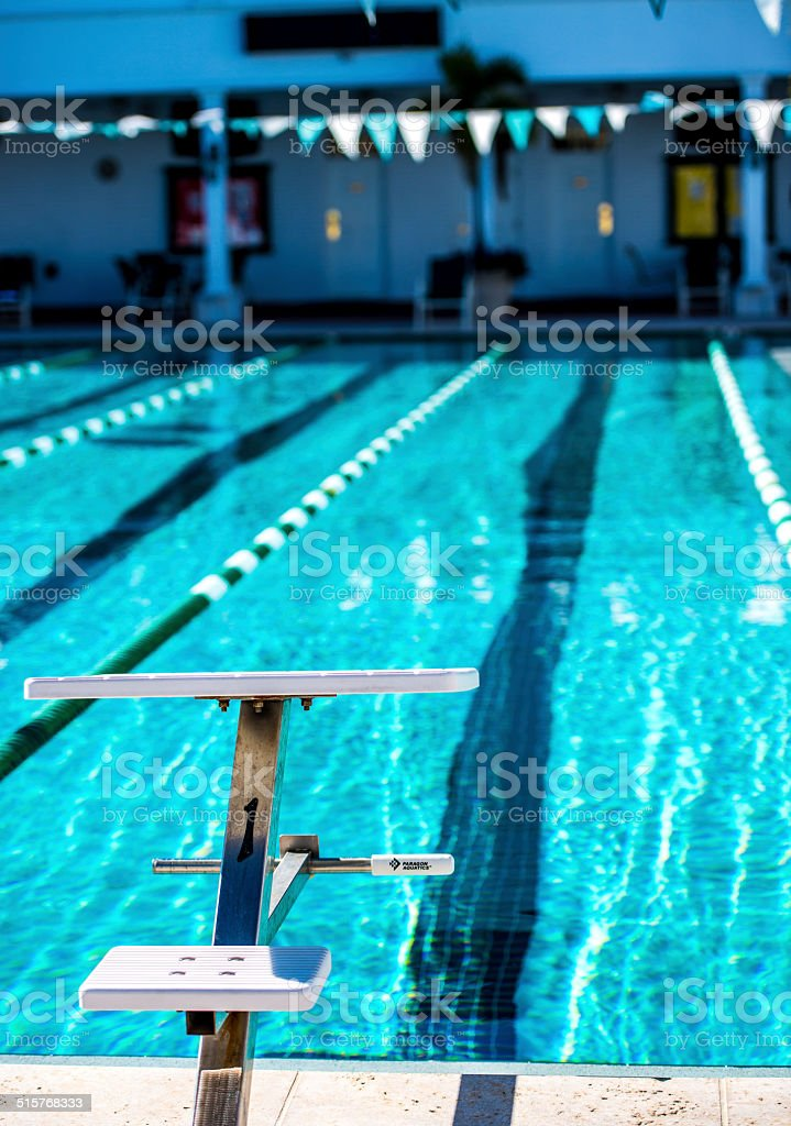 Swimming Pool Starting Blocks stock photo