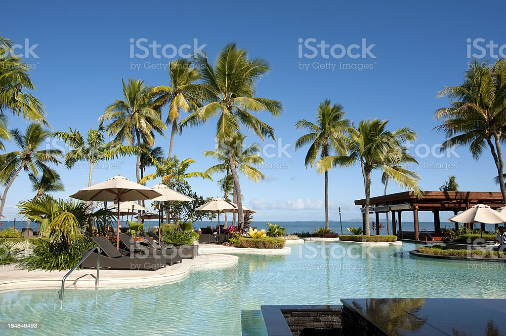 Swimming pool surrounded by palm trees at resort stock photo