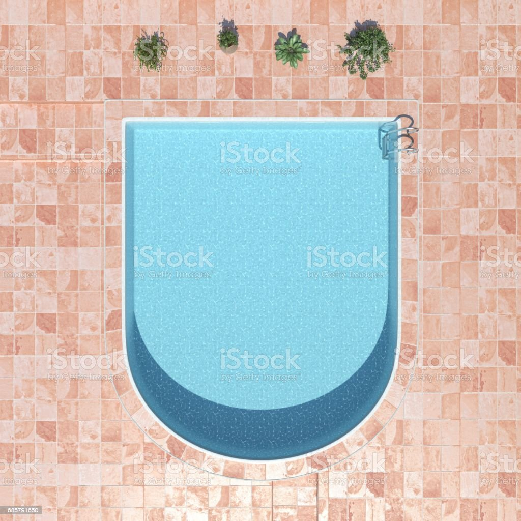swimming pool. top view 3d rendering stock photo