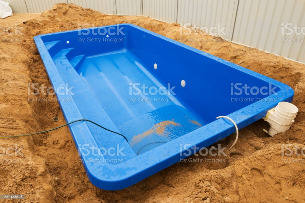 Swimming pool under construction. stock photo