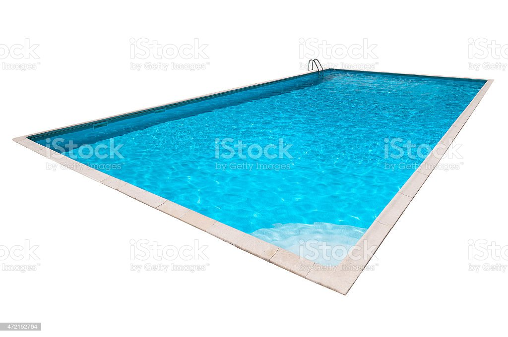 Swimming pool with blue water isolated stock photo