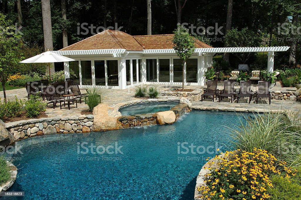 Swimming Pool with Cabana House stock photo