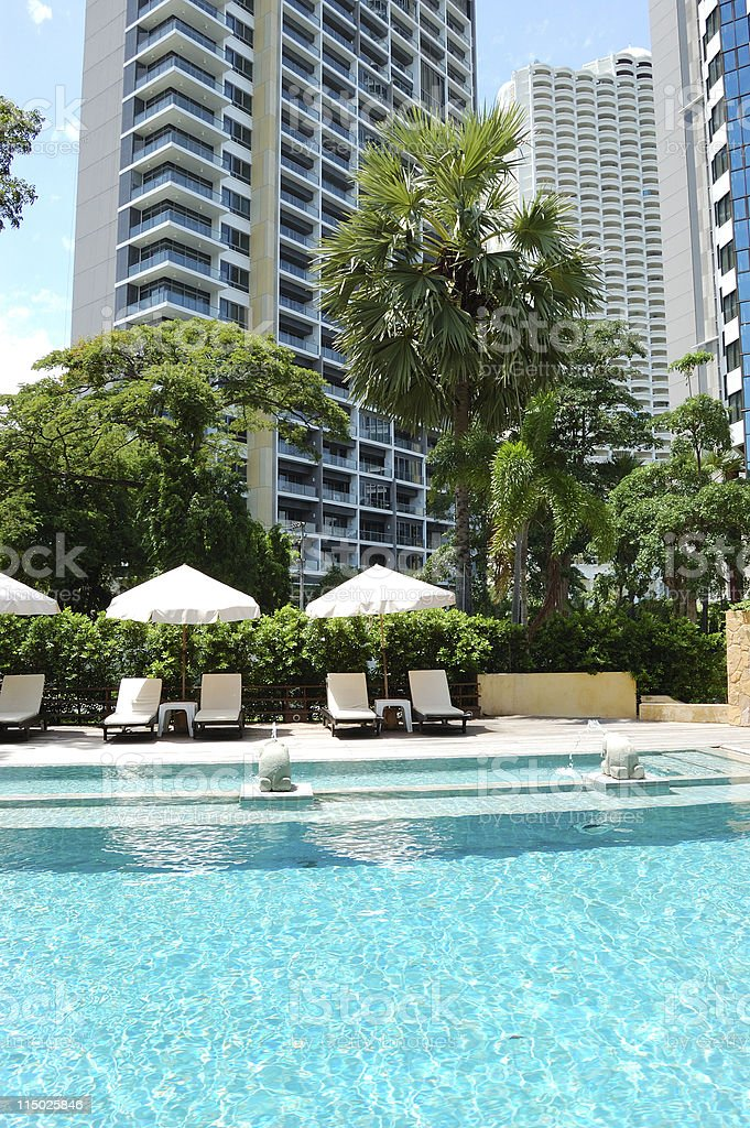 Swimming pool with elephant statues at popular hotel, Pattaya, Thailand royalty-free stock photo