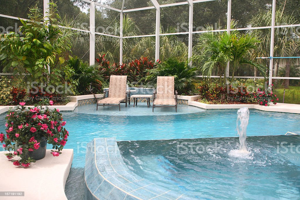 Swimming Pool with Fountain royalty-free stock photo