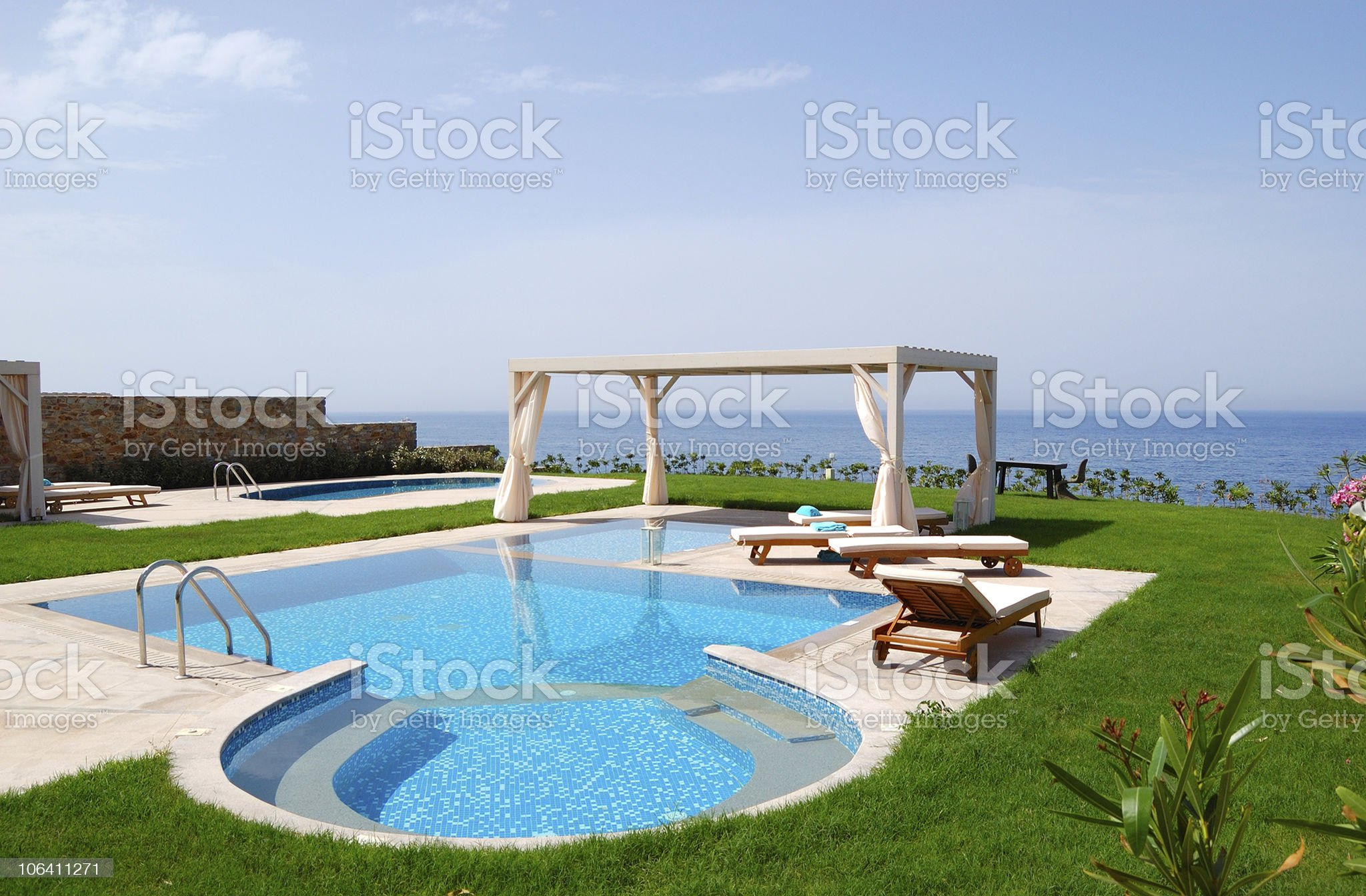 Swimming pool with jacuzzi at luxury villa, Crete, Greece royalty-free stock photo