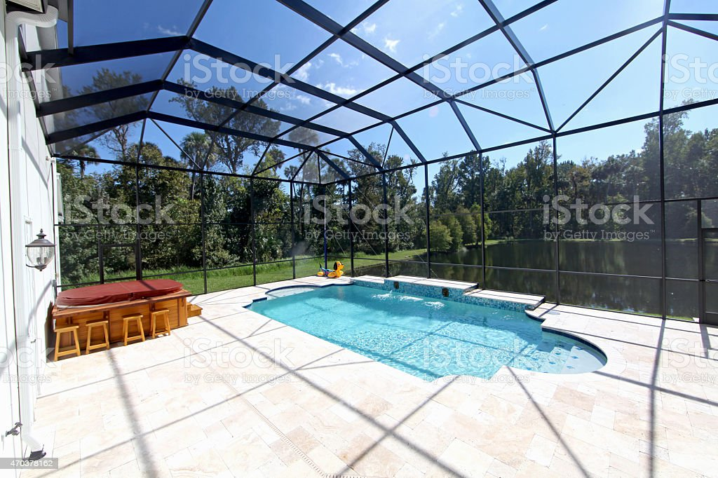 Swimming Pool with Lake View stock photo