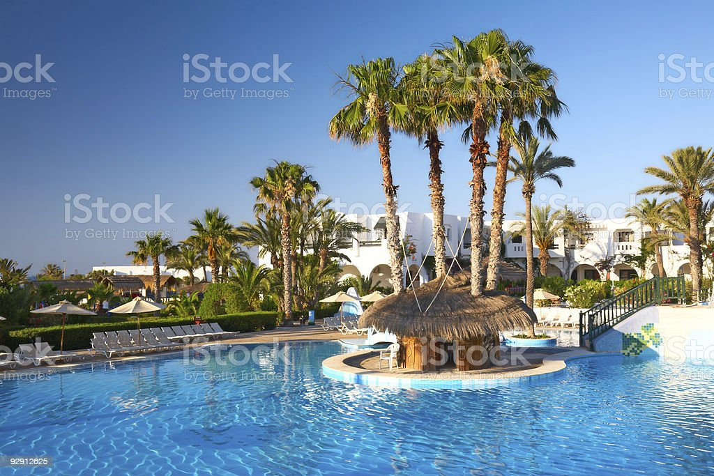swimming pool with palm trees stock photo