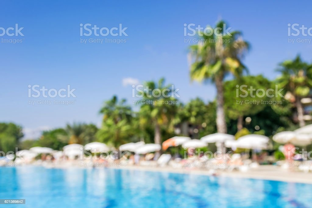 Swimming pool with palm trees.Abstract blurred background stock photo