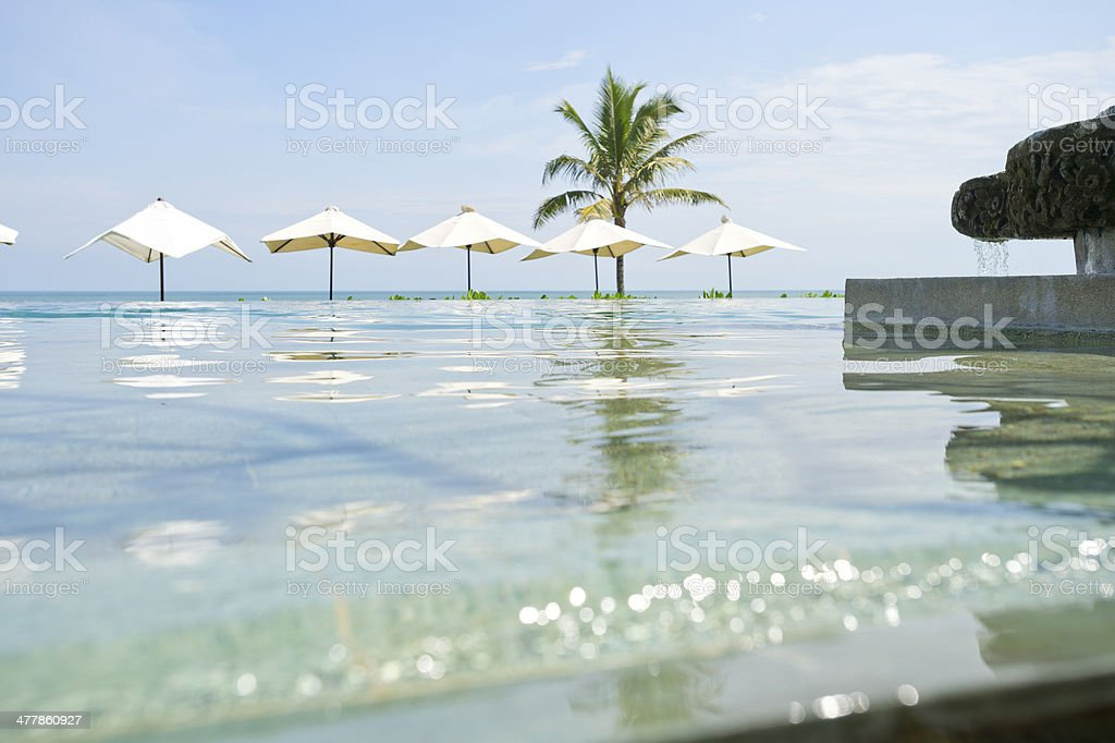 Swimming pool with umbrellas royalty-free stock photo