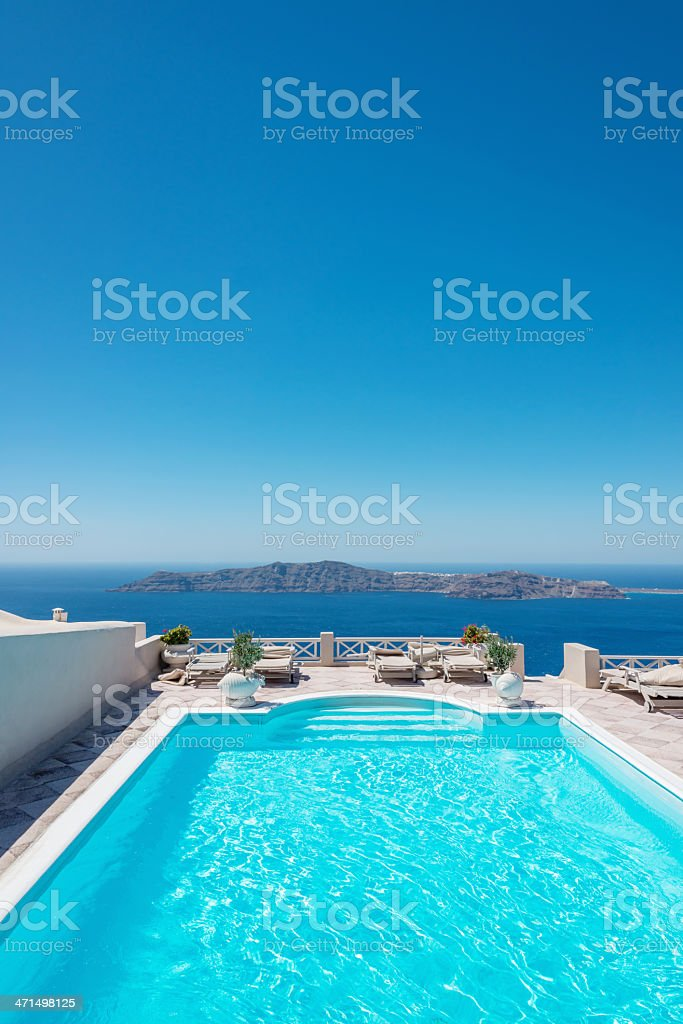 Swimming Pool,Perfect Summer Holiday,Greece royalty-free stock photo