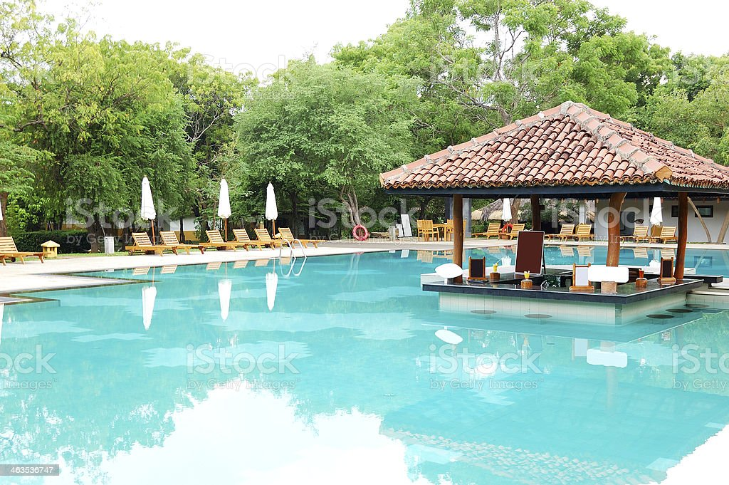 Swimming pool's bar at luxury hotel, Bentota, Sri Lanka stock photo