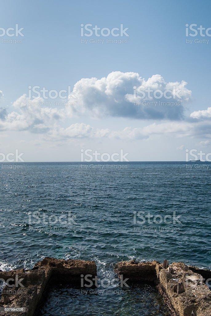 Swimming pools overlooking the sea on the malecon, Havana stock photo