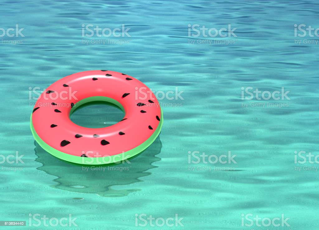 Swimming ring with watermelon pattern stock photo