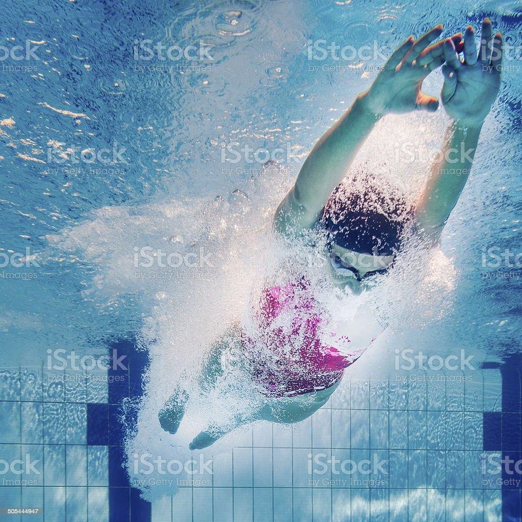Swimming start stock photo