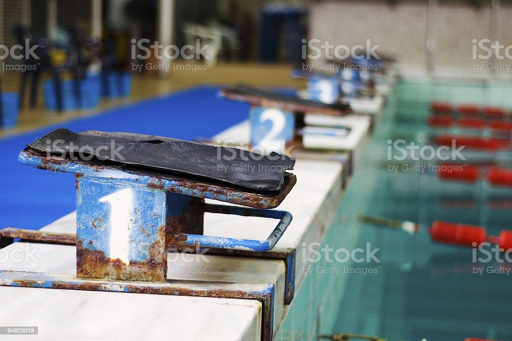Swimming starting platform royalty-free stock photo