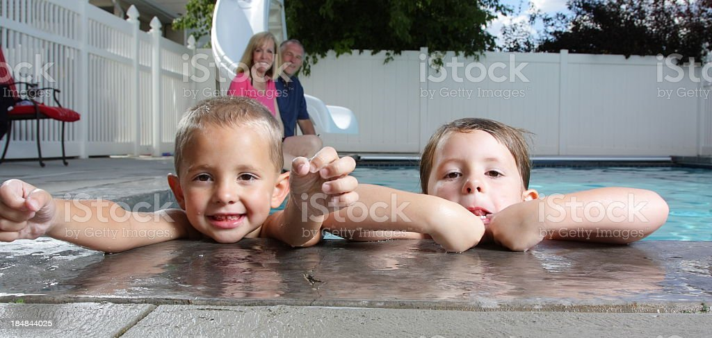 Swimming with Grandparents stock photo