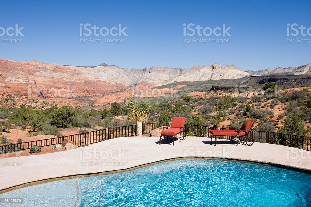 swimmingpool with a view stock photo