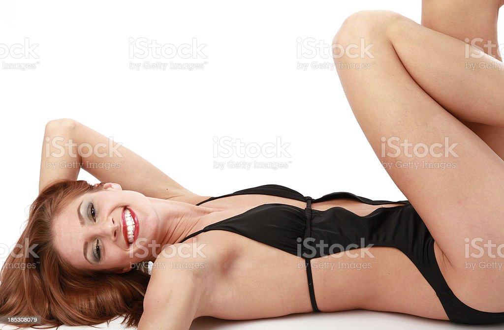Postura traje de baño foto de stock libre de derechos
